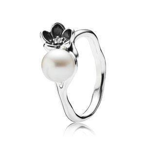 Pandora Mystic Floral Pearl Ring Size 7 RARE